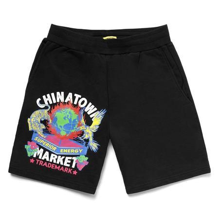 Chinatown Market Muay Thai Tiger Crest Sweatshorts - Black