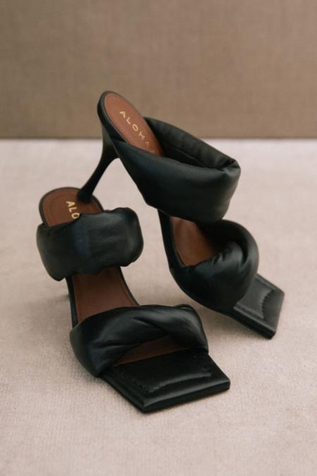 Alohas Twist Strap Mid Heel mule - Black