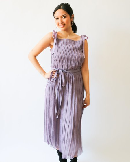 [Pre-loved] Prada Crinkle Pleated Midi Dress - Light Purple
