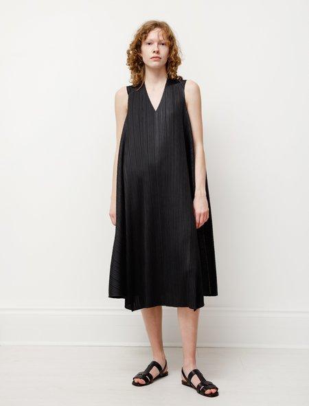 Pleats Please by Issey Miyake Antelope V-Neck Dress - Black