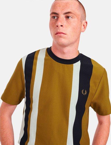 Fred Perry Striped Pique T-Shirt - Dark Caramel