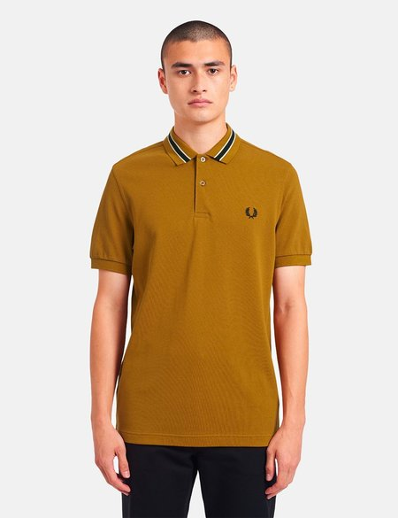 Fred Perry Tramline Tipped Polo Shirt - brown