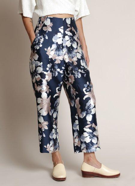 KAAREM Carnation High-Waisted Relaxed Pocket Pant - Blue Floral Print