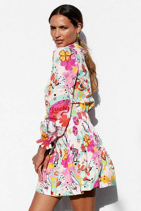 NEVER FULLY DRESSED Lucky Print Mini Dress - PINK