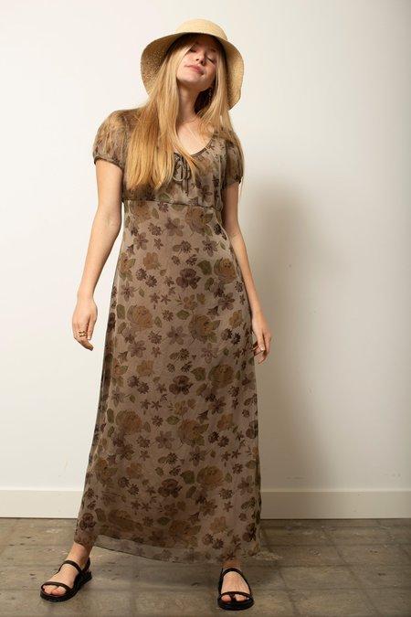 Vintage 90's Floral Dress - brown