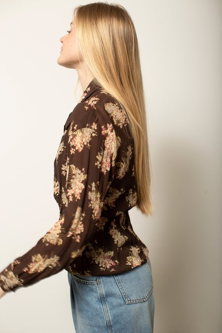 Vintage Floral Blouse - Brown