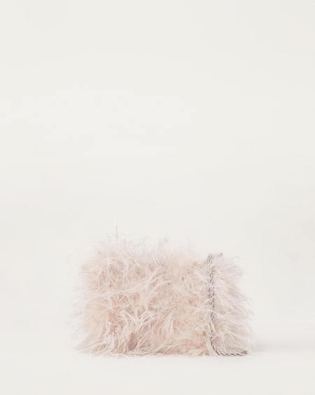 Loeffler Randall Zelda Feather Baguette Crossbody - Oyster/Silver
