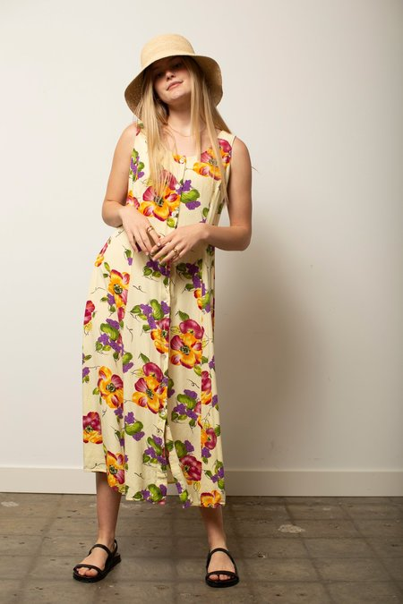 Vintage Floral Sundress - yellow