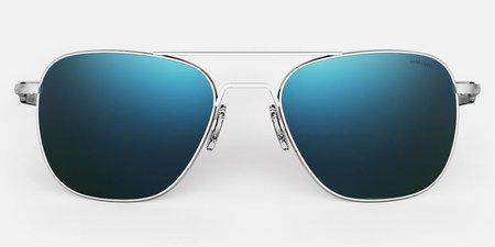 Randolph Engineering Aviator Polarised sunglasses - matt chrome/cobalt