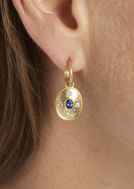 Tony Malmed Jewelry Earrings - 18K yellow gold/Sapphire/Diamond