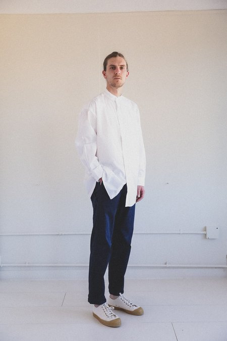 Orslow LOOSE FIT STAND COLLAR SHIRT - White