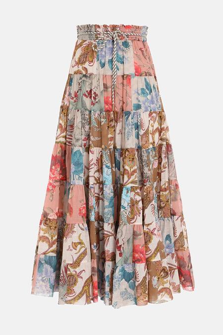 Zimmermann Cassia Patch Midi Skirt - Patchwork Floral