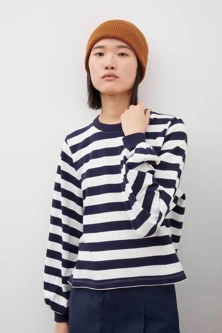 Kowtow Gather Sleeve Top - Stripes