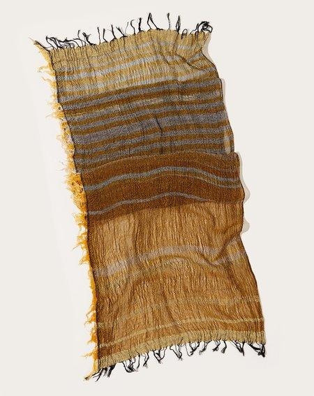 Tamaki Niime Middle Roots Shawl - Yellow/Charcoal