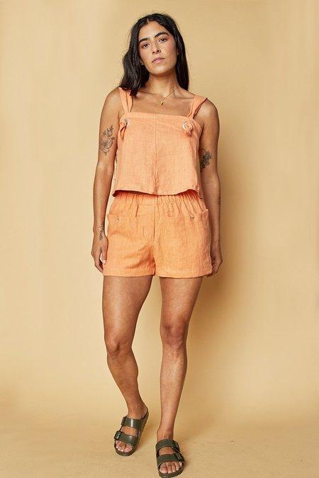 back beat rags Linen Boxer Shorts - Peach