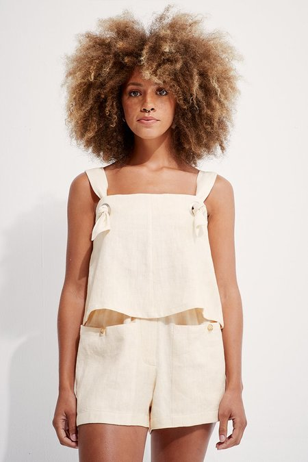 back beat rags Linen Knotted Cami top - Creme