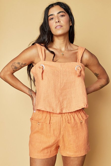 back beat rags Linen Knotted Cami top - Peach