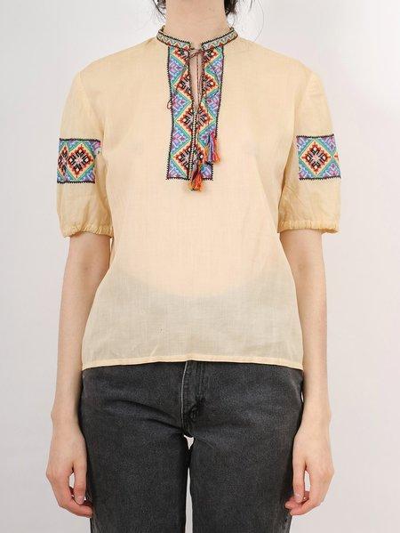 Vintage peasant blouse - beige/multicoloured embroidery
