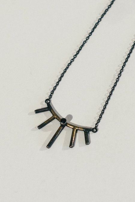 Stray Mini Gold Accented Silver Sunray Necklace