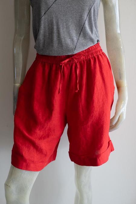 Yuvita Crinkle Linen Long Shorts