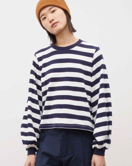 Kowtow Gather Sleeve Top - Stripe