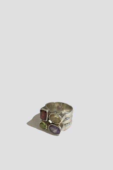 Vintage Multi-Gem Ring - sterling silver