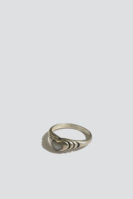 Vintage Opal Heart Banded Ring - sterling silver