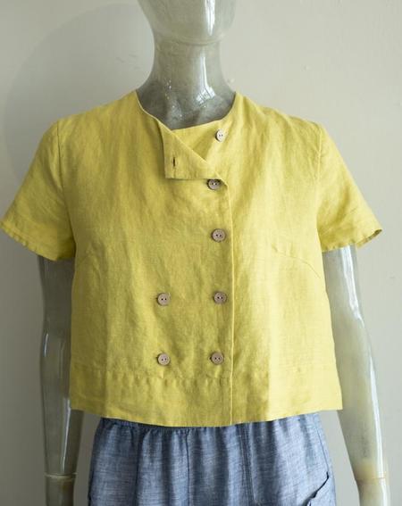 Yuvita Crop Button Blouse - sunshine yellow