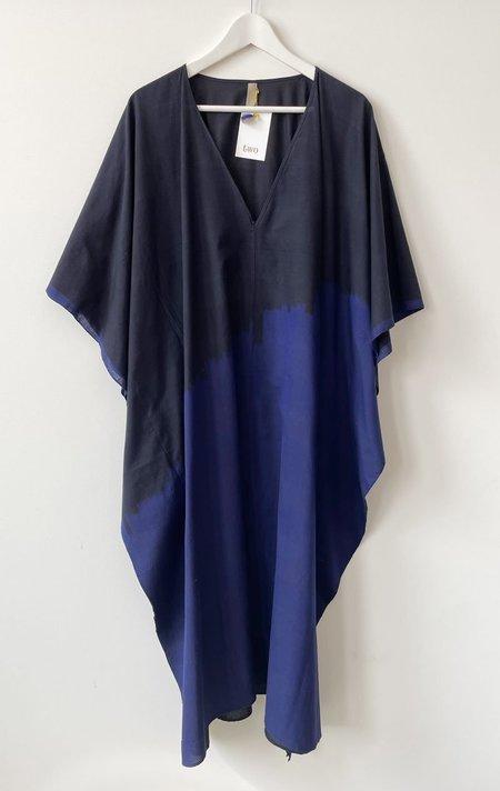 Two V-neck caftan dress - black/blue