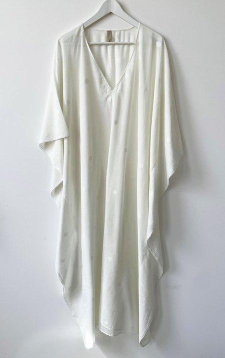 Two Jamdani V-neck Caftan - White