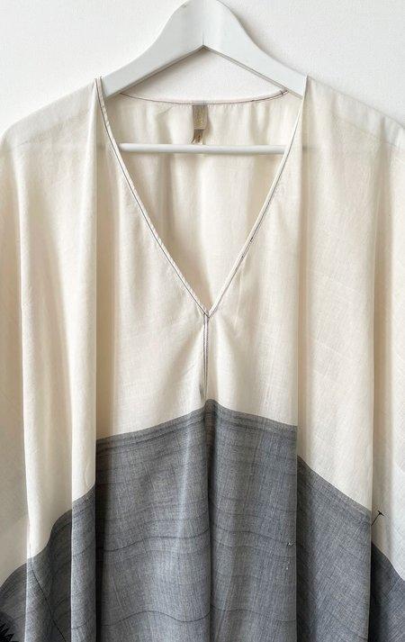 Two V-neck caftan - White/Grey