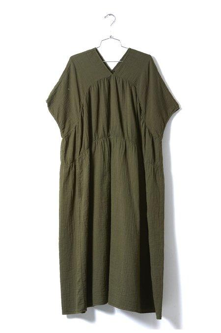 Atelier Delphine Lihue Wrinkled Cotton Dress - Hunter Green
