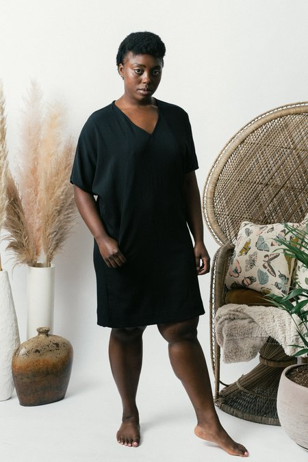 Field Day Cocoon Dress - Black Crepe
