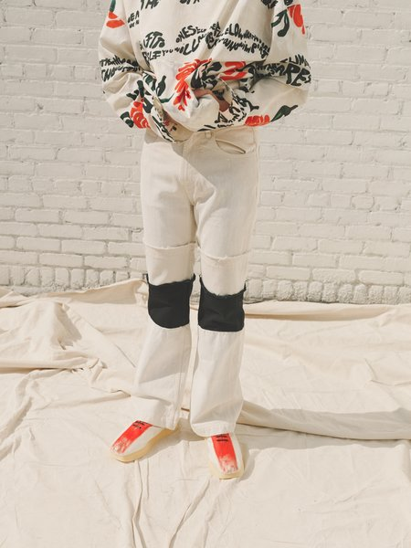 Marni Painted Natural Canvas Deconstructed Flare Jean - White