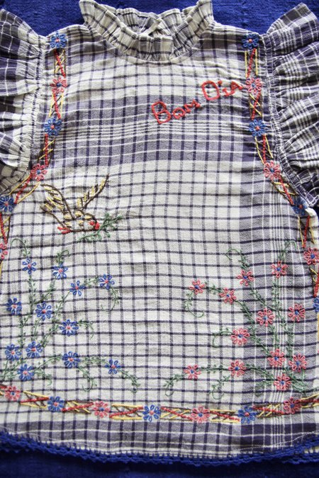 kids Bonjour Embroidered Flounce Top - Handkerchief Check