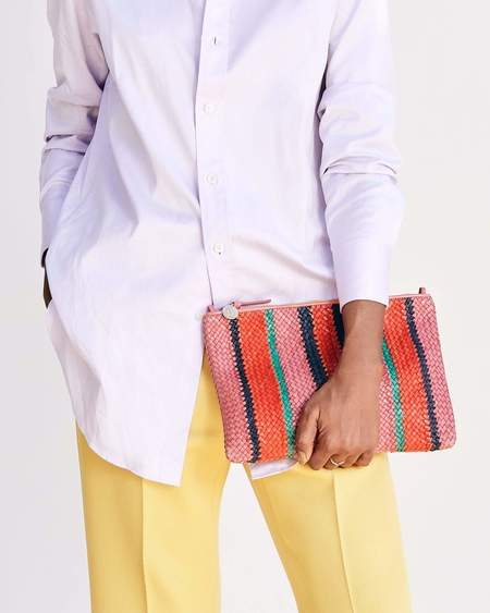 Clare V. Flat Clutch with Tabs - Petal Woven/Stripes