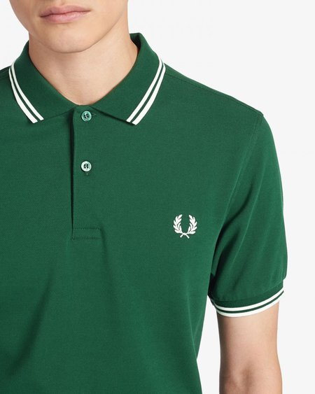 Fred Perry M3600 Short Sleeve Polo - Green/White
