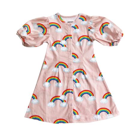Kids Romey Loves Lulu Puff Sleeve Dress - Rainbow