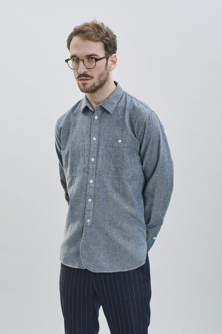 Delikatessen AW 20/21 Japanese Very Soft Denim Cotton Farmer Shirt - Light Blue