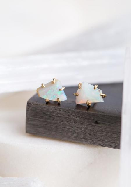 Variance Objects White Australian Opal Studs - 14KT-18KT Gold