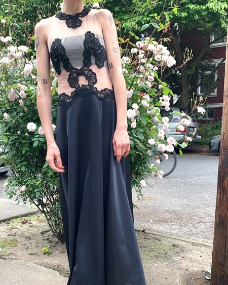 Vintage Lace Applique Gown DRESS - BLACK