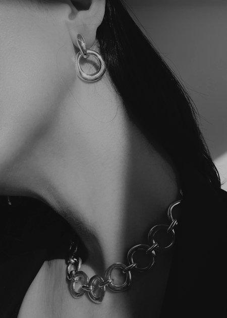 Modern Weaving Imperfect Circles Door Knocker Earrings - Bronze/14K