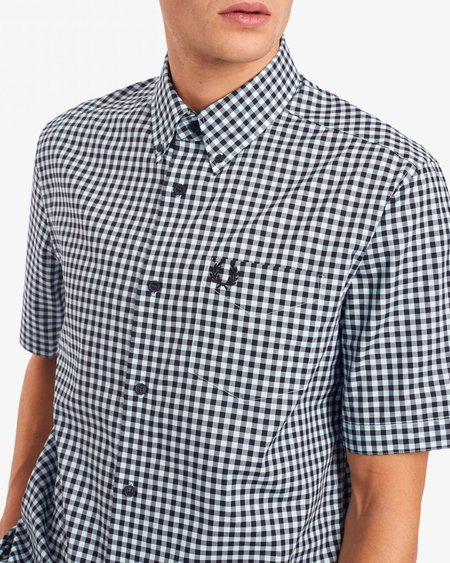 Fred Perry SS Vichy M9604 Shirt - Carbon Blue