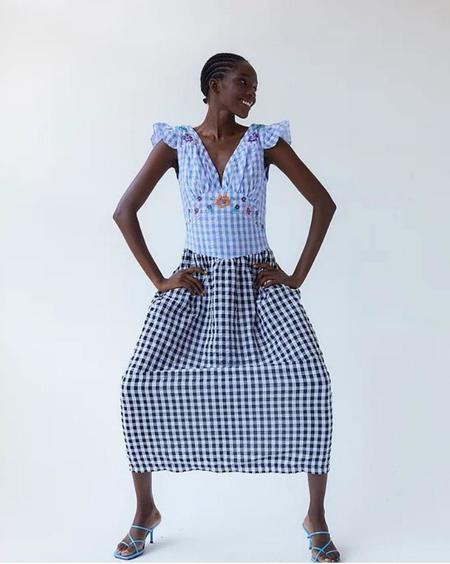 Tach Clothing Ilena Cloque Dress - blue