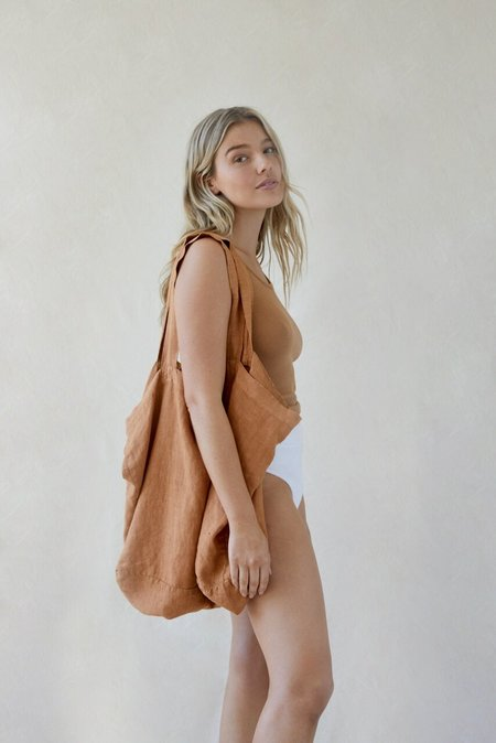 Chance & Fate Linen Tote - BROWN