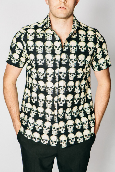 Any Old Iron Skull Print Short-Sleeve Button Up