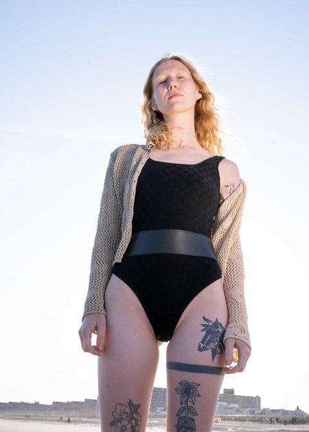 Ajaie Alaie Classic Scooped Neck Bodysuit - Black