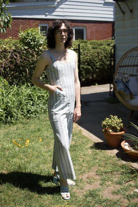 Meemoza Myriam Jumpsuit - Blue Linen Stripes