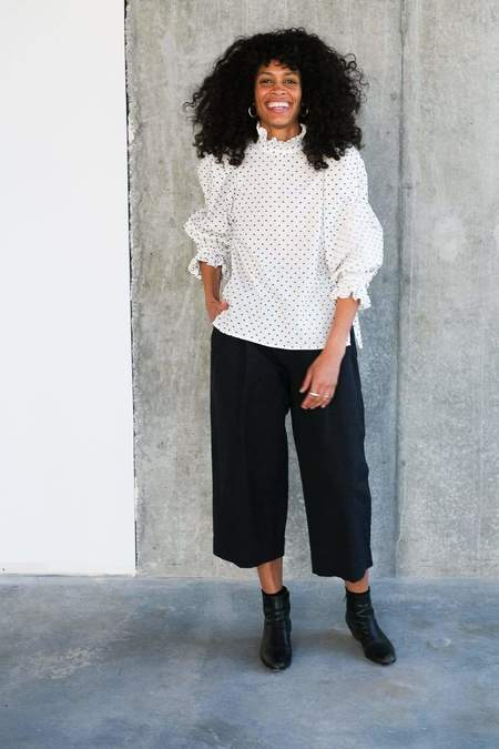 Toit Volant Le Bouscat Ruffle Collar Top - White/Black