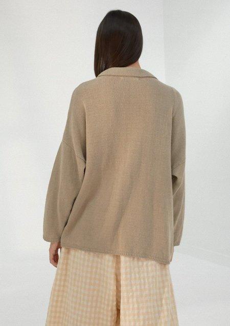 Mónica Cordera Knit Linen Cardigan - Smoked Green